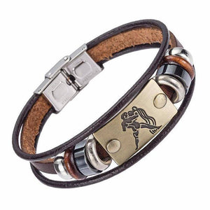 Zodiac Leather Bracelet For Men With Stainless Steel Clasp