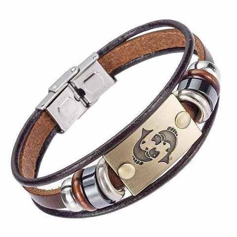 Image of Zodiac Leather Bracelet For Men With Stainless Steel Clasp