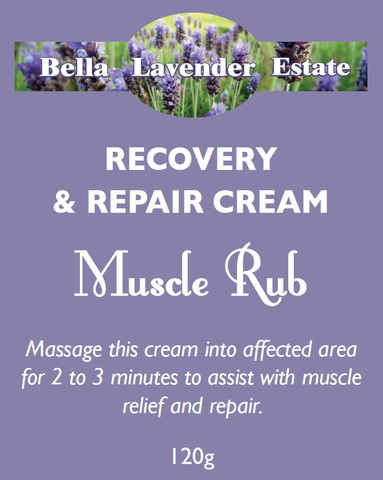 Muscle Rub - Recovery and Repair Cream - 120g - Bella Lavender Estate