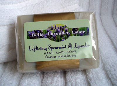 Exfoliating Spearmint & Lavender Soap with Pumice Stone - 110g - Bella Lavender Estate