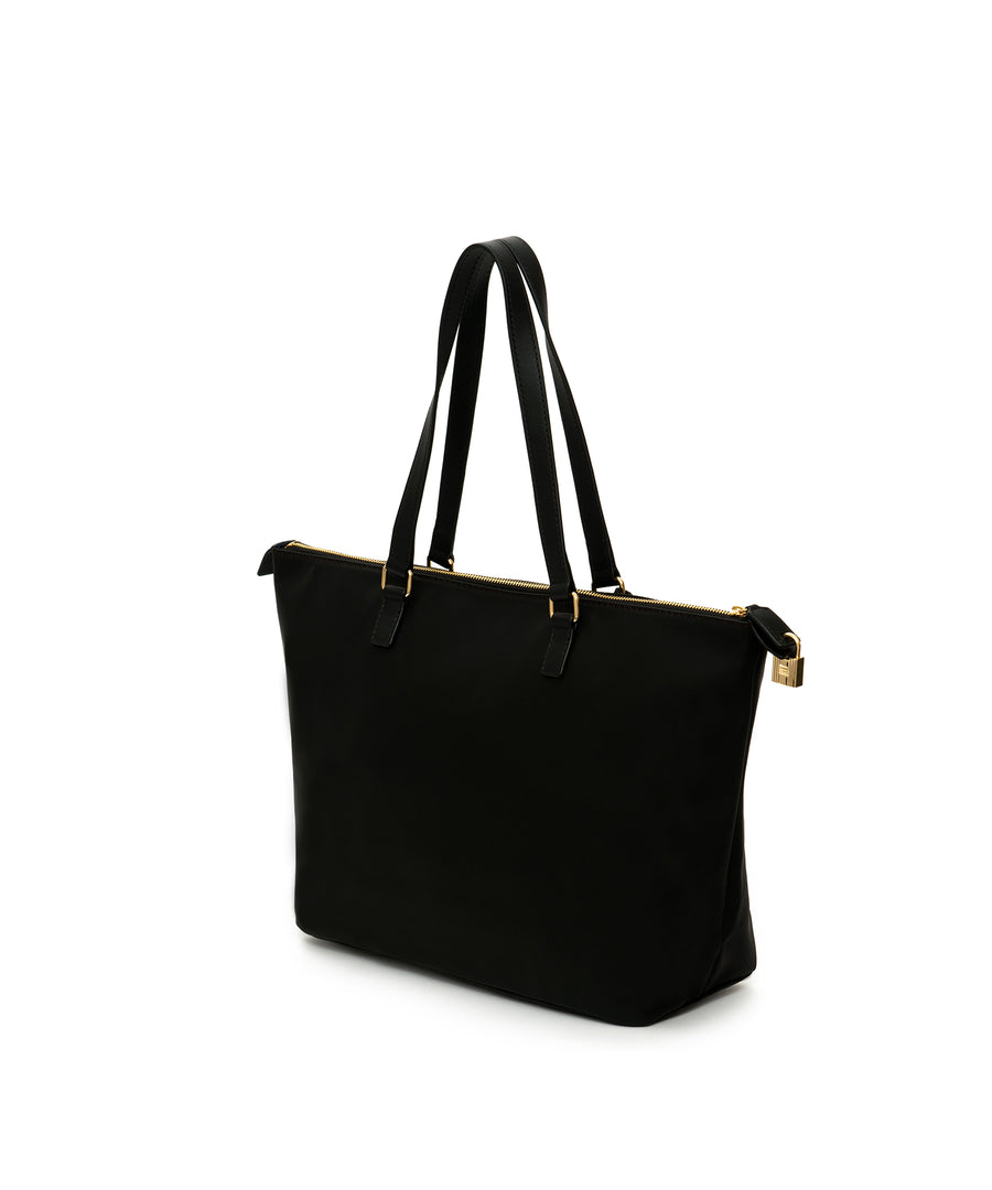 The Willow : A hemp-based, black canvas tote designer bag (with leather straps)*Promotion*