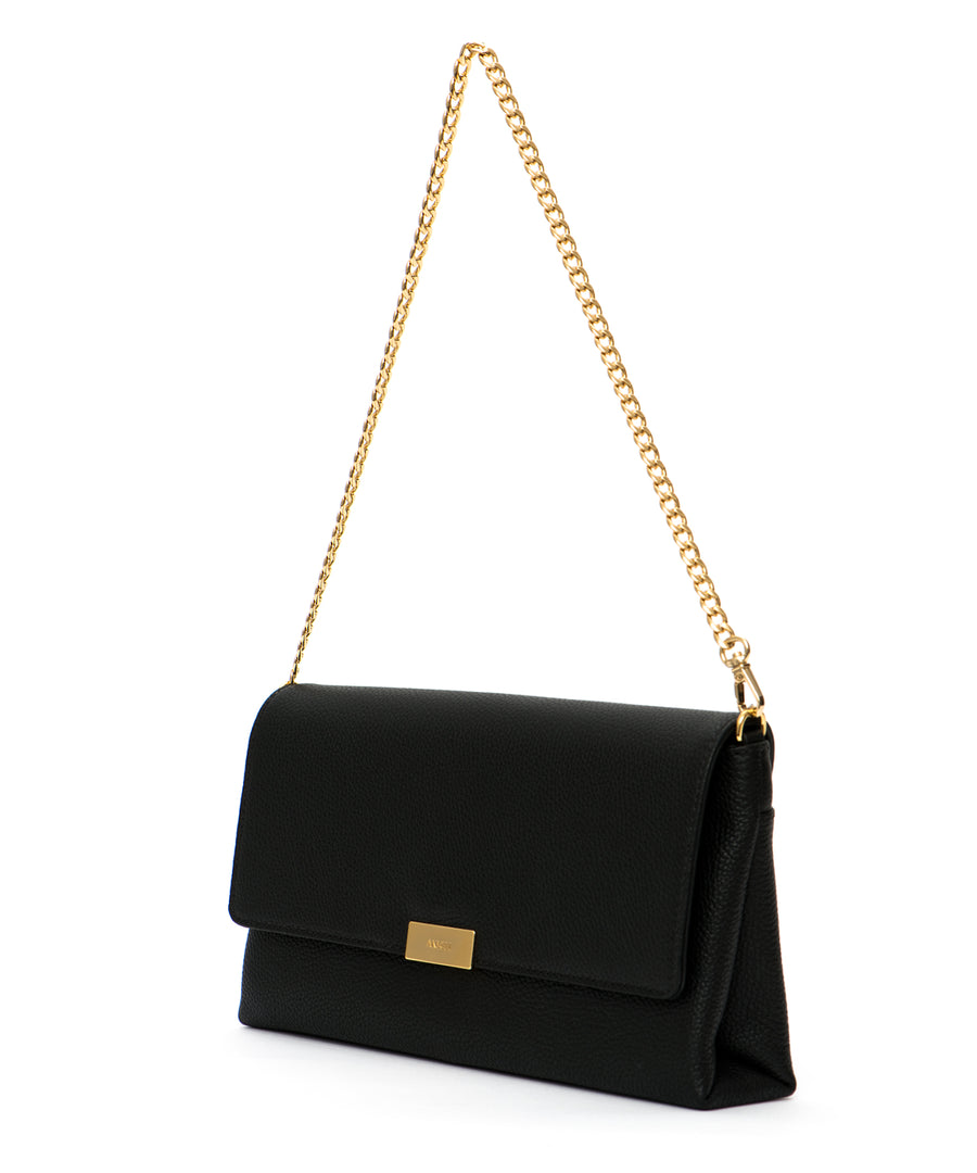 The Camellia: A simple, black designer cocktail purse (with detachable chain and leather straps)