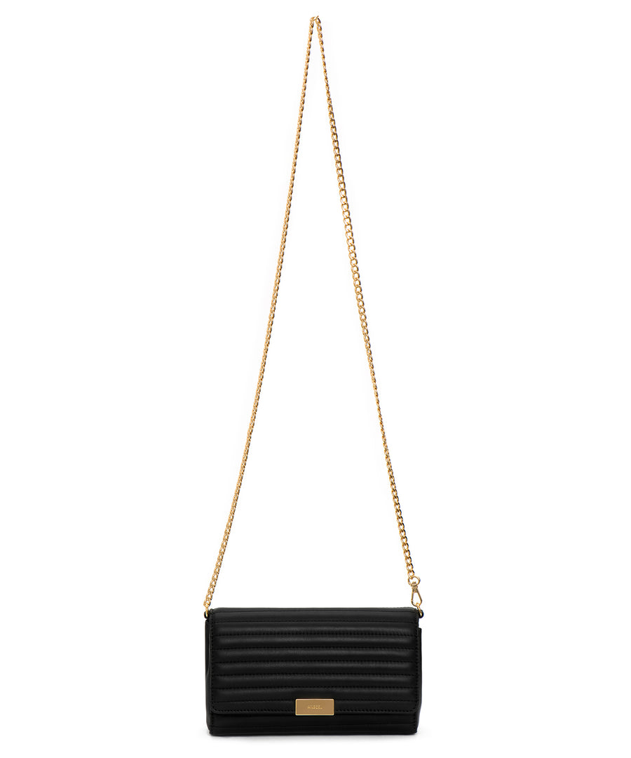 The Georgia: A quilted, black leather clutch (with a detachable chain)