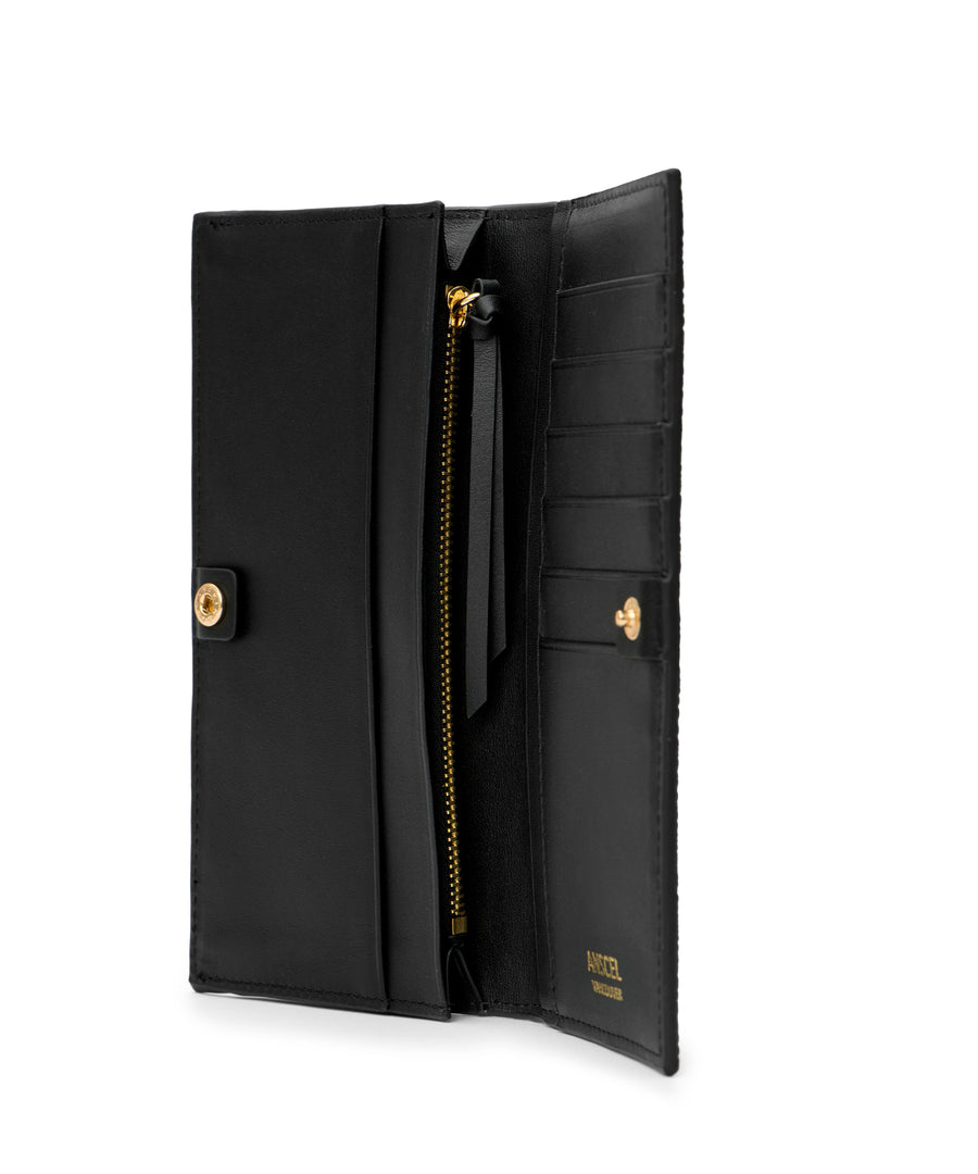 Adonis: A slim, long black leather designer wallet