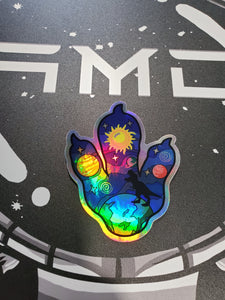 Cosmic Ocean Paw Sticker Holographic