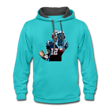 Load image into Gallery viewer, G.O.A.T - Contrast Hoodie - scuba blue/asphalt