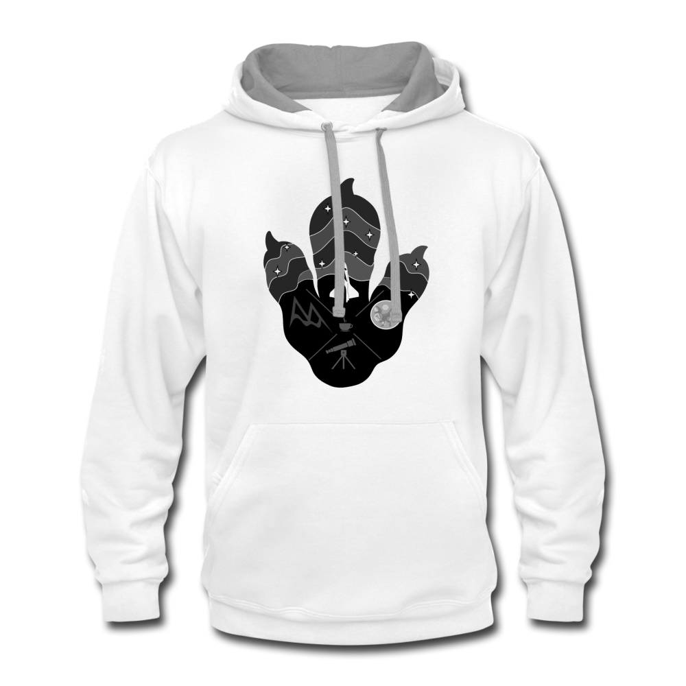 Logo Paw - Contrast Hoodie - white/gray