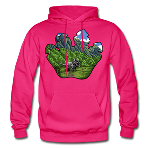 Triceratops Paw - Heavy Blend Hoodie - fuchsia