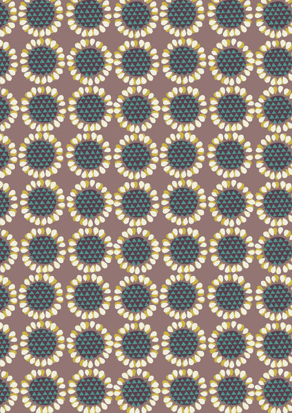 New Forest - Lewis and Irene - Retro Flowers in Brown and Teal