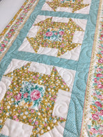 Apple Butter Churn Dash Table Runner - Blue Colourway