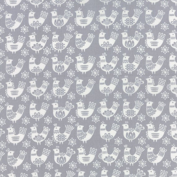 Folk Art Holiday - Moda - Birds in Grey