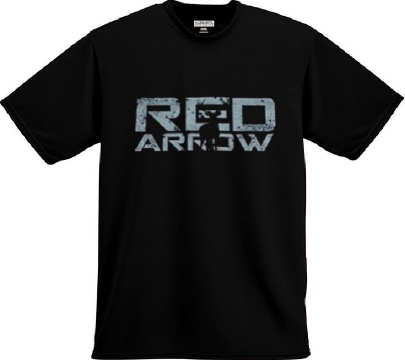 Gray Red Arrow Grunge Logo Tee