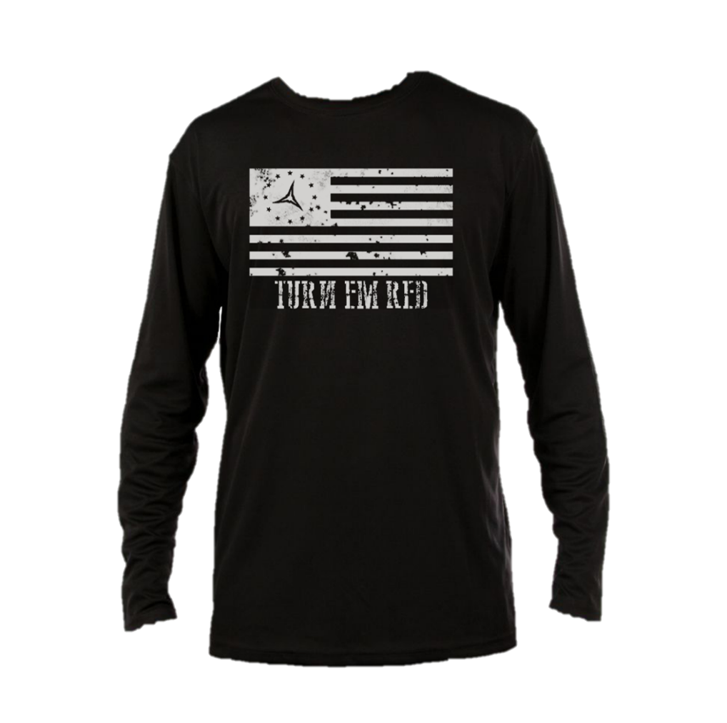 Turn Em Red Flag Long Sleeve Performance Shirt
