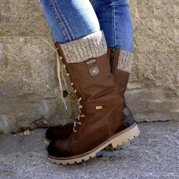 Womens Knitted Mid-calf Boots
