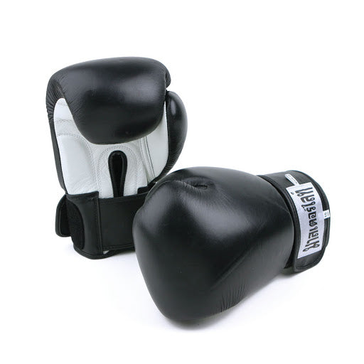 Deluxe Pro Leather Boxing Kickboxing Martial Arts Gloves BLACK