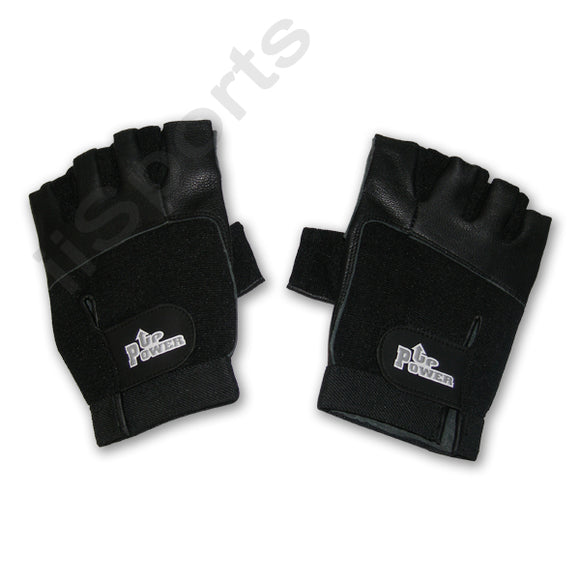 Power Up Weightlifter Fingerless Leather Small gym weight lifting workout black
