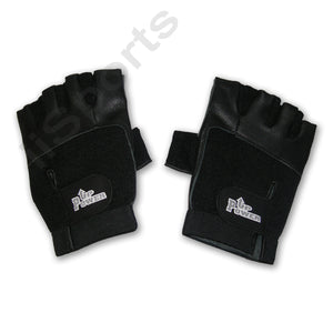 Power Up Weightlifter Fingerless Leather Medium gym weight lifting workout black
