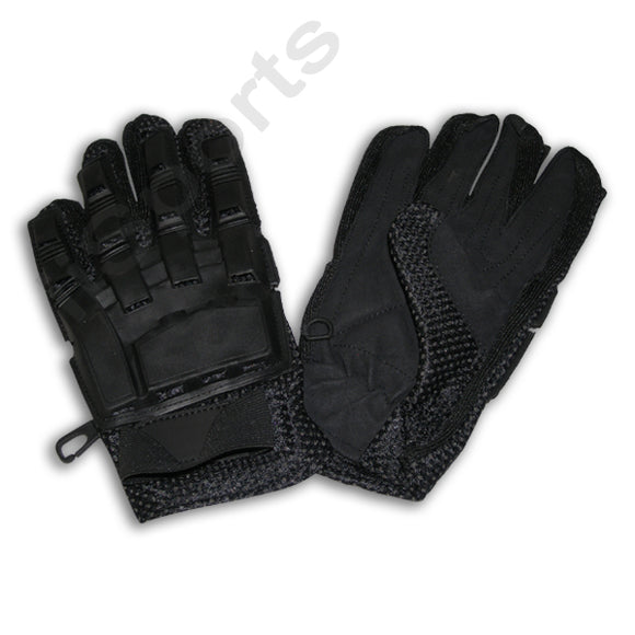 iiSports Paintball Airsoft Vented Armored Full Finger Leather Black Gloves