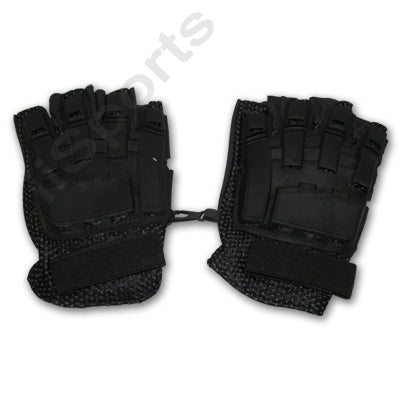 iiSports Paintball Airsoft Vented Armored Half Finger Leather Black Gloves