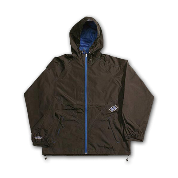 Empire Hooded Windbreaker Lightweight Hiking Rain Zipper Jacket XL Black/Blue