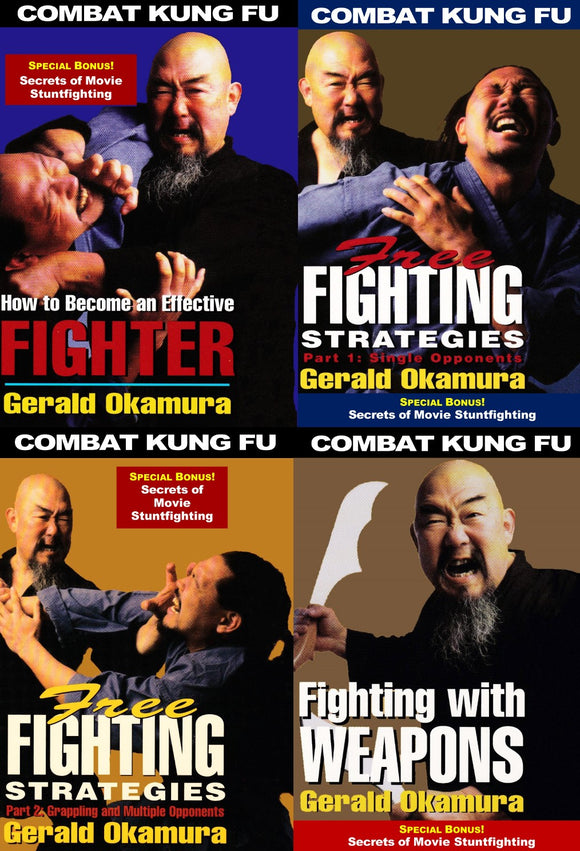 4 DVD SET Combat Kung Fu San Soo + Secrets Movie Stuntfighting - Gerald Okamura