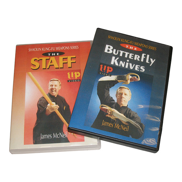 2 DVD SET Shaolin Kung Fu Weapons Staff Long Pole Butterfly Knives James McNeil
