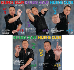 5 DVD Set Hung Gar Kung Fu forms fighting footwork balance ++ GM Buck Sam Kong
