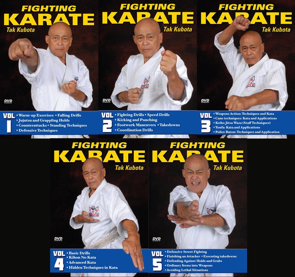 5 DVD SET Fighting Karate Gosoku Ryu Weapons Street Self Defense Takayuki Kubota