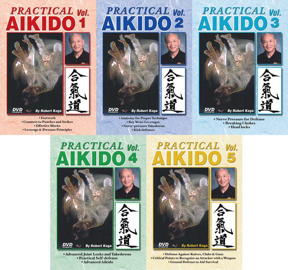5 DVD SET Practical Aikido real-life Street Self Defense Robert Koga LAPD