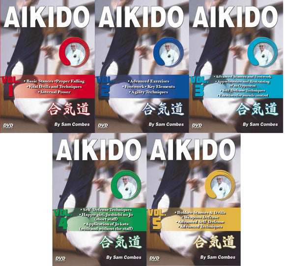 5 DVD SET Aikido Ki, Footwork, Self Defense, Weapons, Chokes, Kata - Sam Combes