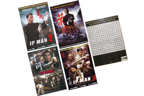 IP Man Wing Chun 4 DVD Movies Set + 108 Wooden Dummy Poster  $120 Value!