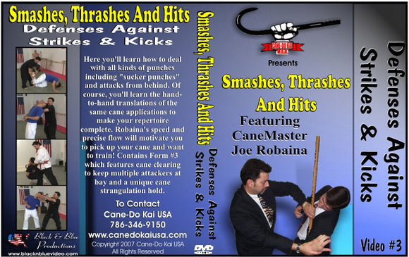 Cane Smashes Thrashes & Hits Defenses Against Strikes & Kicks #3 DVD Joe Robaina