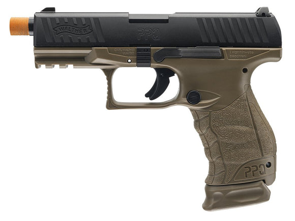 T4E Airsoft Walther PPQ M2 Dark Earth Brown Gas Blowback Pistol