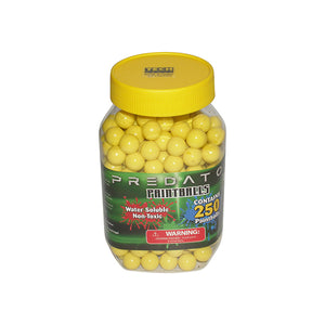 Predator .50 caliber paintballs 250 jar  YELLOW