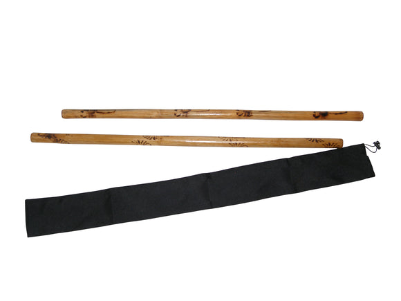 Escrima Kali Arnis Rattan Stick Set Burned No Skin (2 sticks+case) 28