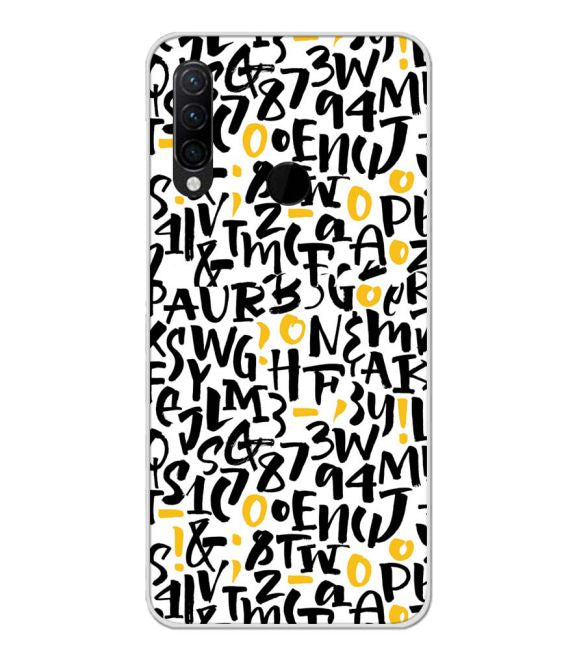 Alphabets And Numbers Back Cover for Lenovo K10 Note
