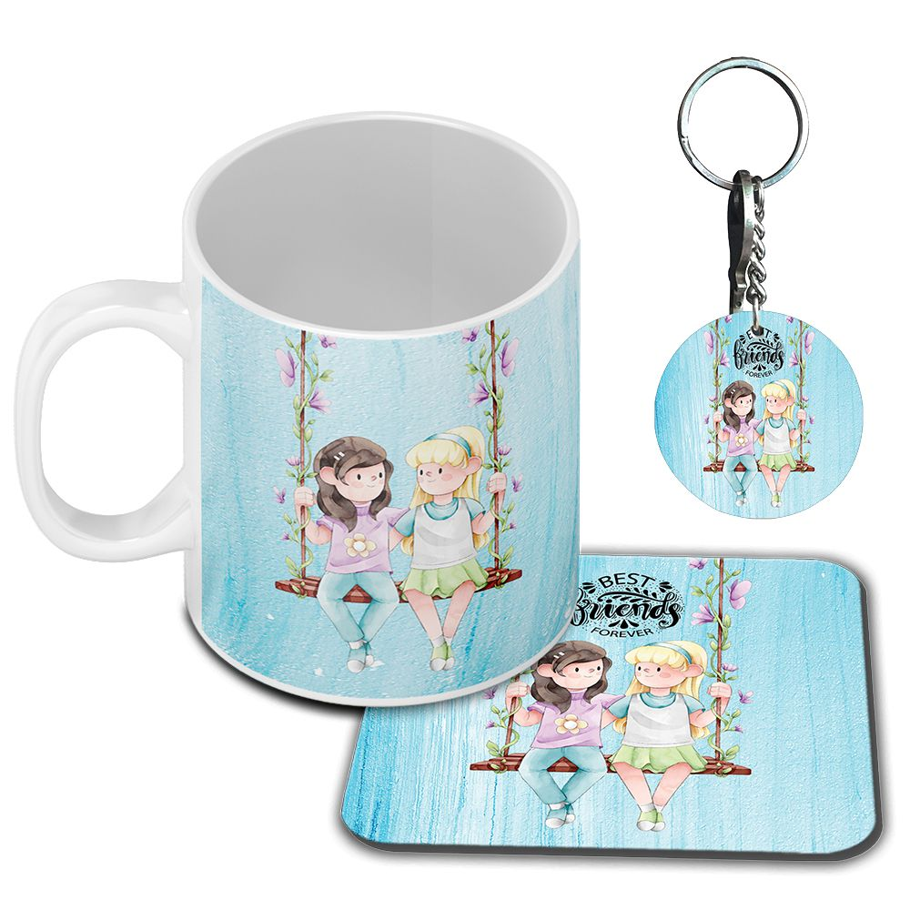 Best Friends Forever Coffee Mug with Coaster and Keychain
