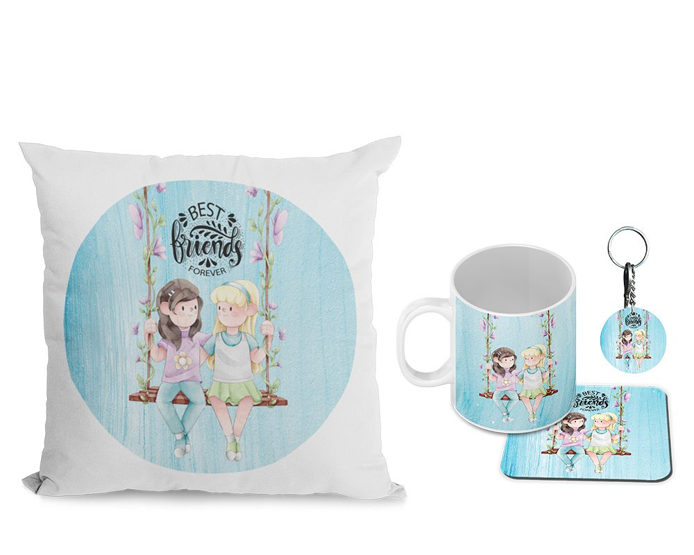 Best Friends Forever Cushion, Coffee Mug with Coaster and Keychain