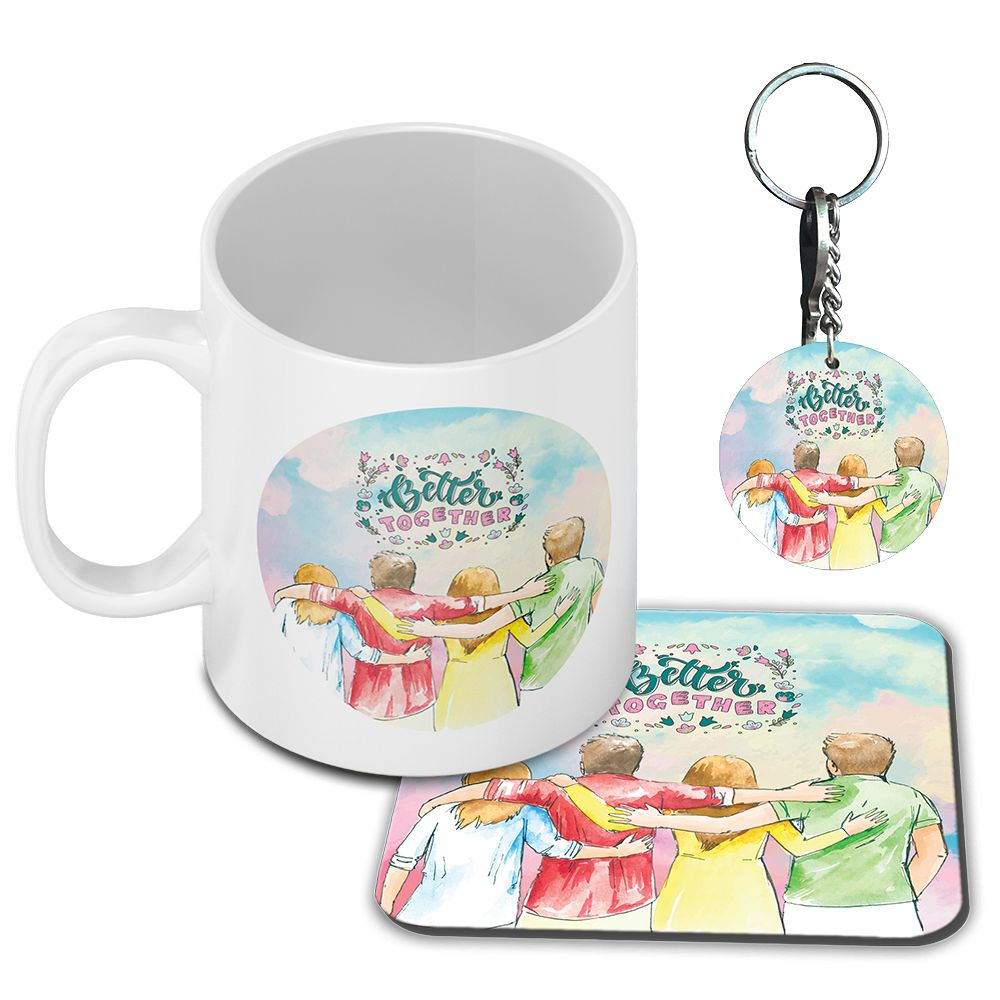 Better Together Coffee Mug with Coaster and Keychain