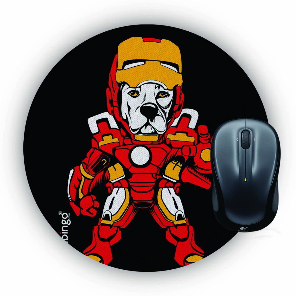 Iron Dog Mouse Pad (Round)