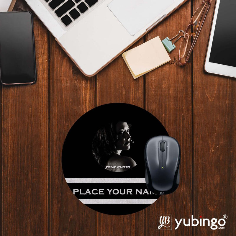 Name with Photo Mouse Pad (Round)