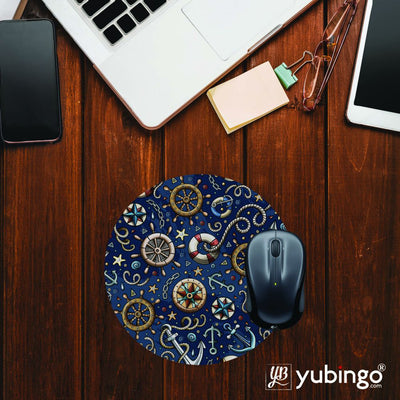 Nautical Blue Mouse Pad (Round)-Image2
