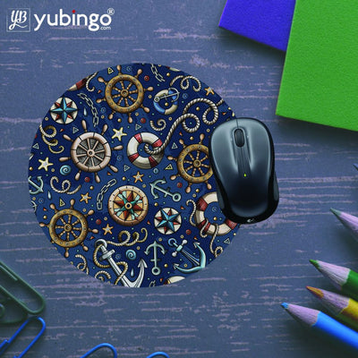 Nautical Blue Mouse Pad (Round)-Image5