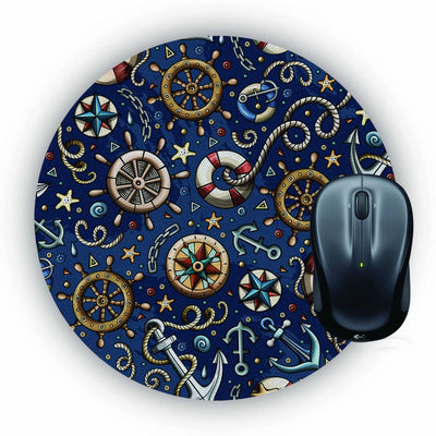 Nautical Blue Mouse Pad (Round)