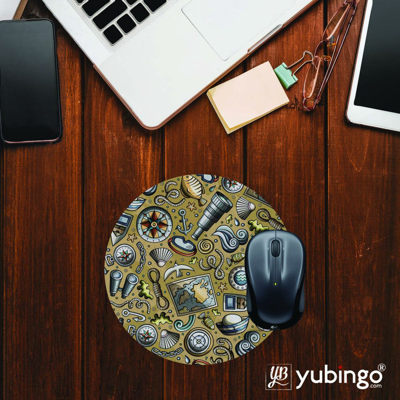 Nautical Brown Mouse Pad (Round)