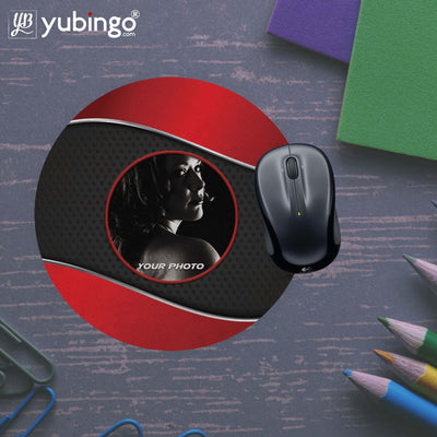 Photo on Wavy Background Mouse Pad (Round)-Image5