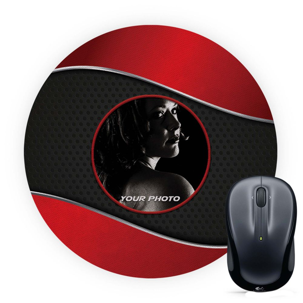 Photo on Wavy Background Mouse Pad (Round)