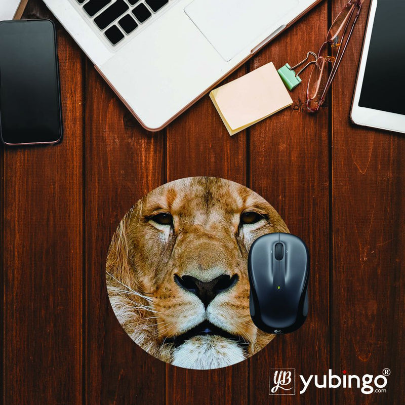 Portrait of Lion Mouse Pad (Round)