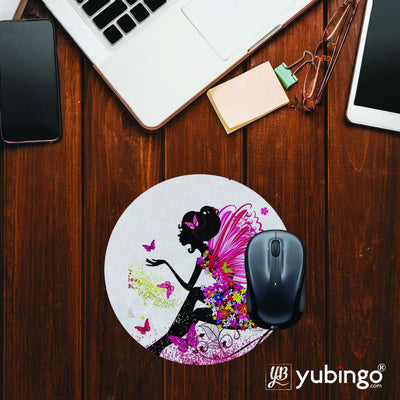 The Pixie With Her Butterflies Mouse Pad (Round)-Image2