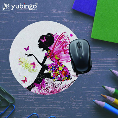 The Pixie With Her Butterflies Mouse Pad (Round)-Image5
